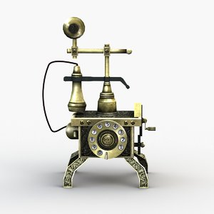 3D antique telephone rigged