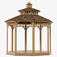 wooden gazebo wood 3D model