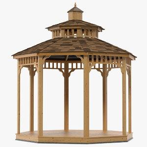 wooden gazebo wood 3D model