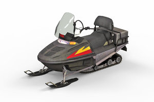 3D model snowmobile snow mobile