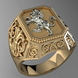signet ring heraldic lion 3D model