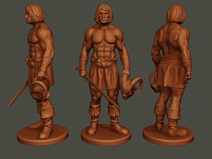 male barbarian 2hsword cut 3D model