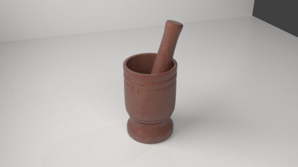 3D wood mortar pestle 13 model