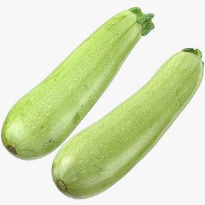3D zucchini cousa squash 03