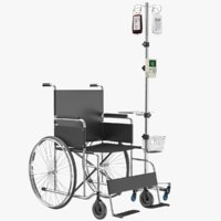 Wheel Chair With IV Stand 3D Model