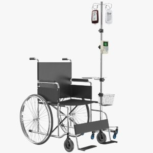 wheel chair iv stand 3D model