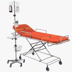 ambulance bed iv stand 3D model