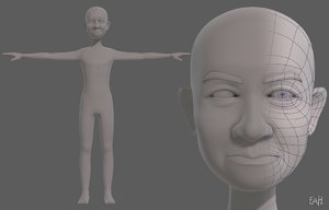 3D model base mesh old man