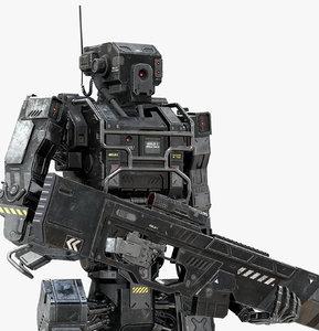 3D robot soldier black