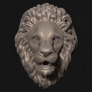 3D lion stare sculpture head model