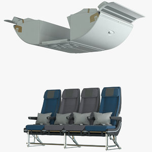 economy middle airplane seat 3D model