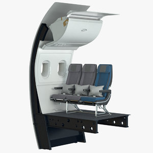 3D economy airplane seat wall