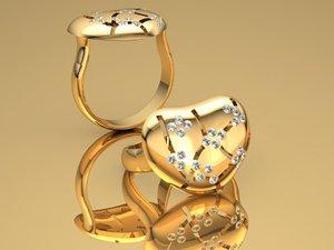 heart charm ring 3D