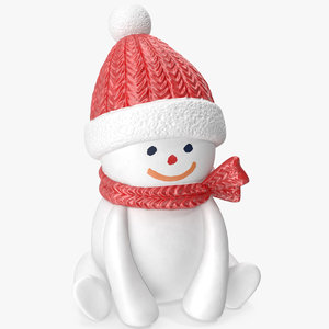 snowman figurine scarf 3D model
