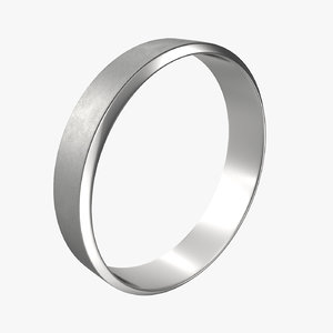 3D silver band ring