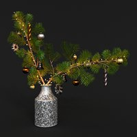Christmas Tree Branch with Lights and Decorations