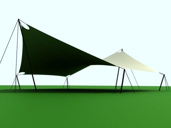 3D 6-angle shade sail model