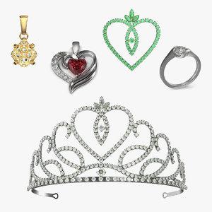 3D jewelry diamond necklace model