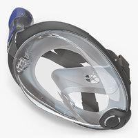 3D model lying face snorkel mask