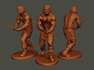 male barbarian 2hsword combat2 3D