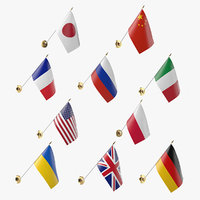 3D wall flags model