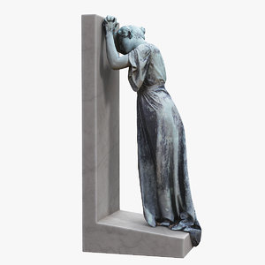 woman sorrow statue 3D model