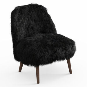 3D wool sheepskin fur black