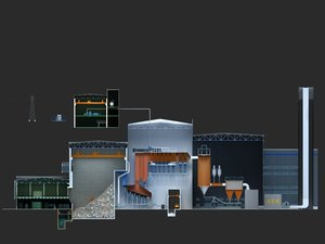 3D model waste burning power generation