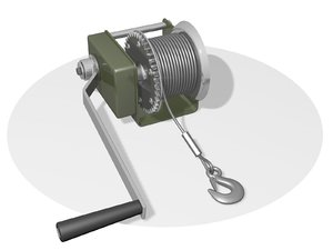 3D winch windlass hoist model