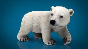 3D polar bear babe model