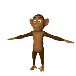 monkey cartoon character 3D model