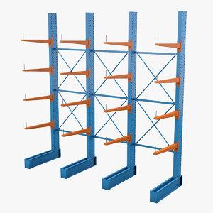 3D storage rack model