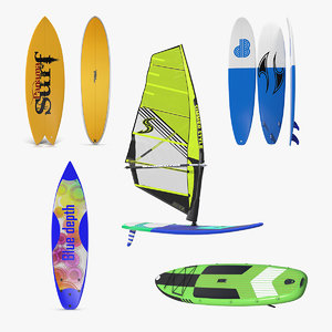 3D surfboards 4 board surfing model