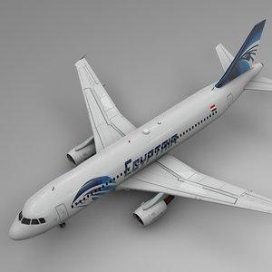 3D egyptair airbus a320 l493 model
