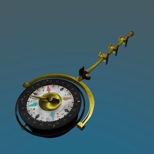 3D compass aircraft model