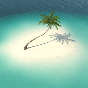 desert tropical island palm tree 3D model