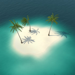 small island ocean palms 3D model