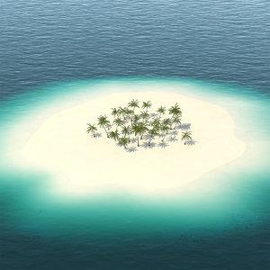 tropical island palm trees 3D model
