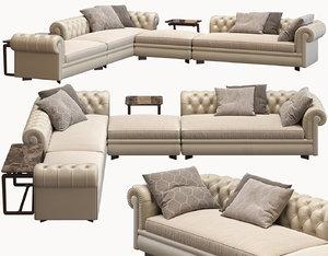 3D model corner sofa chester line