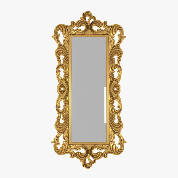 baroque carved mirror 3D