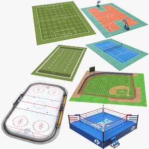3D real seven sports fields