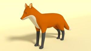 3D model cartoon fox