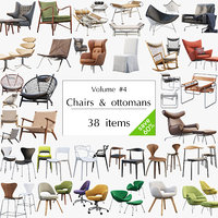 3D model chairs ottomans set 38