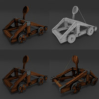 low-poly catapult model