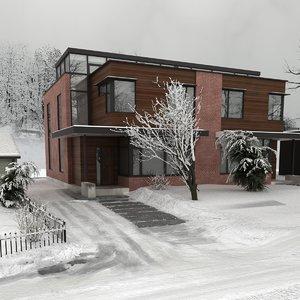 3D model house winter