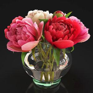 flowers peonies 3D model