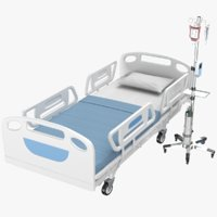 Hospital Medical Bed With IV Stand