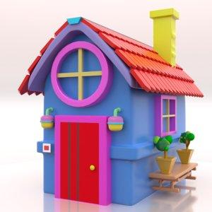 3D cute toy house cartoon