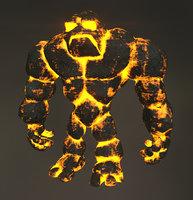 Lava Golem Rock Monster 3D Character (2)