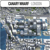 3D canary wharf london - model